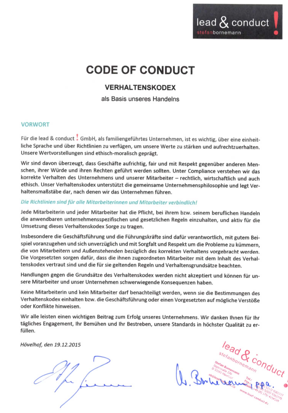 Verhaltenskodex code of conduct lead & conduct gmbh