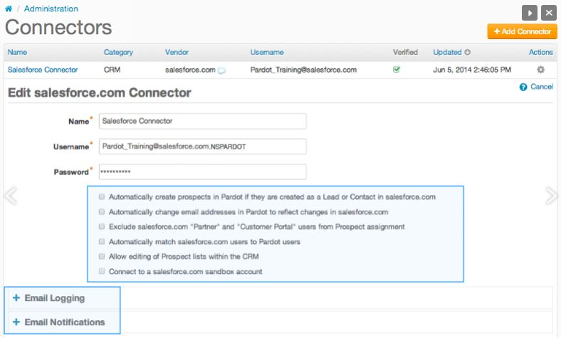 Connector Pardot & Salesforce