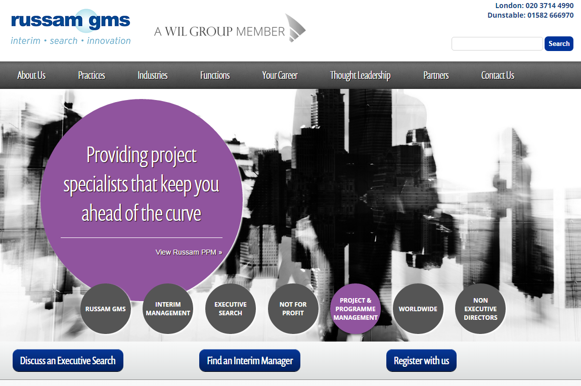 Russam GMS - Website des Interim Management Providers aus UK