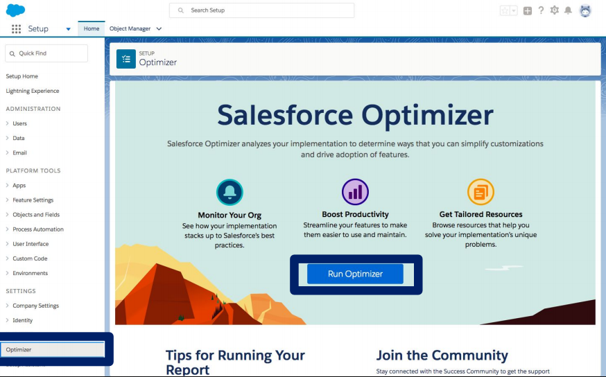 Salesforce Optimizer Report